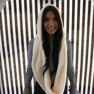 Accessories - Adorable Fluffy Infinity Scarf with Hood  IVORY